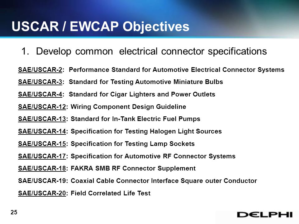 slide_25 1 uscar ewcap & uscar compliant connections prepared by john sae standards for wiring harness at bayanpartner.co