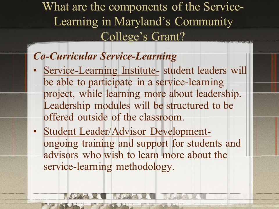 What are the components of the Service- Learning in Maryland's Community College's Grant.