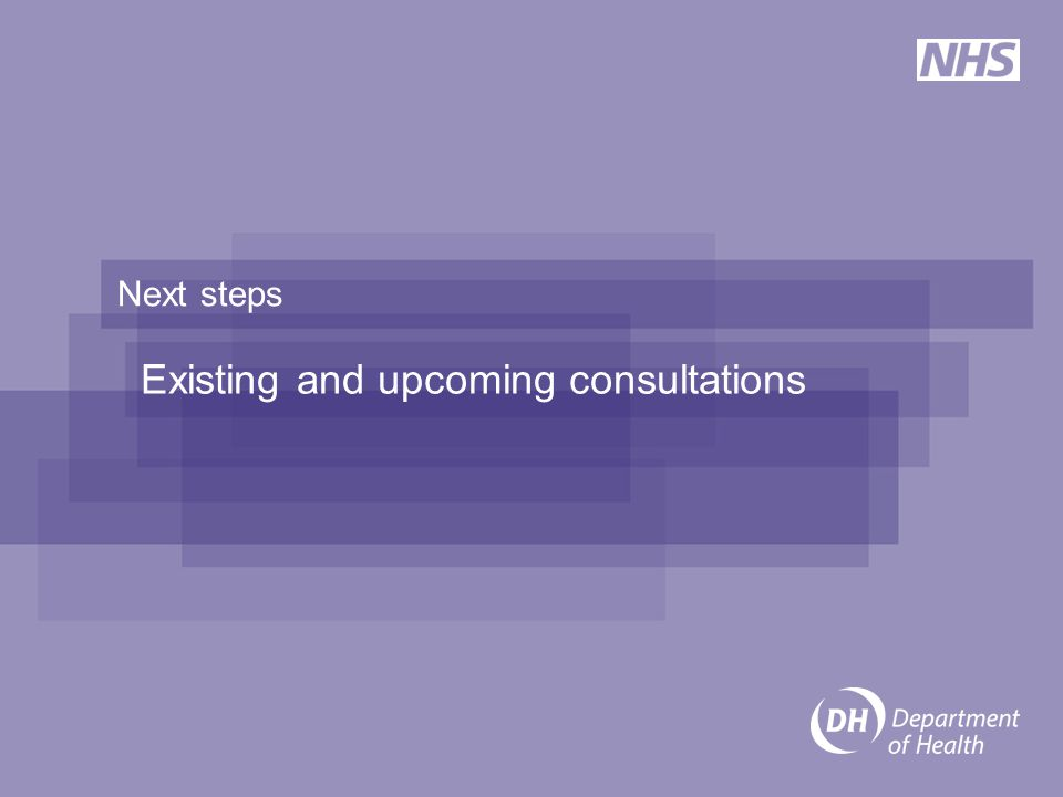 Next steps Existing and upcoming consultations