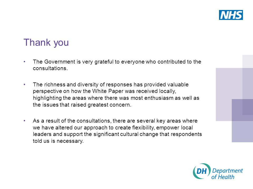 Thank you The Government is very grateful to everyone who contributed to the consultations.