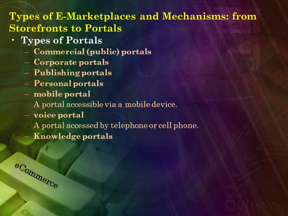 Types of E-Marketplaces and Mechanisms: from Storefronts to Portals Types of Portals – Commercial (public) portals – Corporate portals – Publishing portals – Personal portals – mobile portal A portal accessible via a mobile device.
