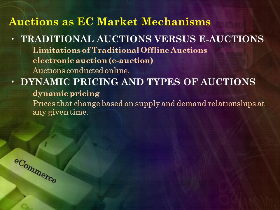 Auctions as EC Market Mechanisms TRADITIONAL AUCTIONS VERSUS E-AUCTIONS – Limitations of Traditional Offline Auctions – electronic auction (e-auction) Auctions conducted online.