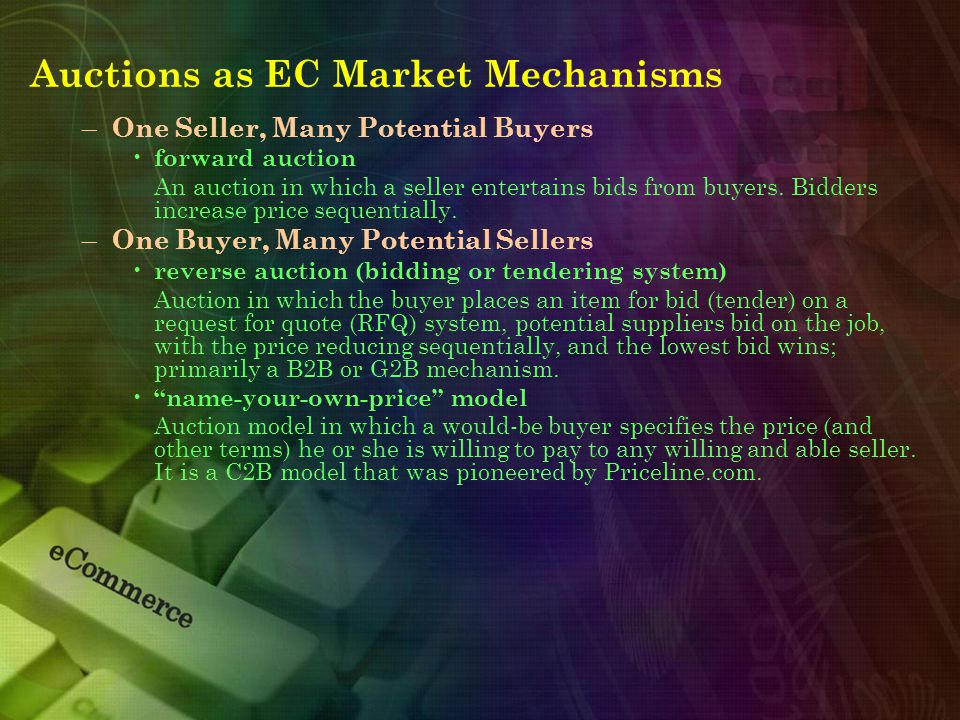 – One Seller, Many Potential Buyers forward auction An auction in which a seller entertains bids from buyers.
