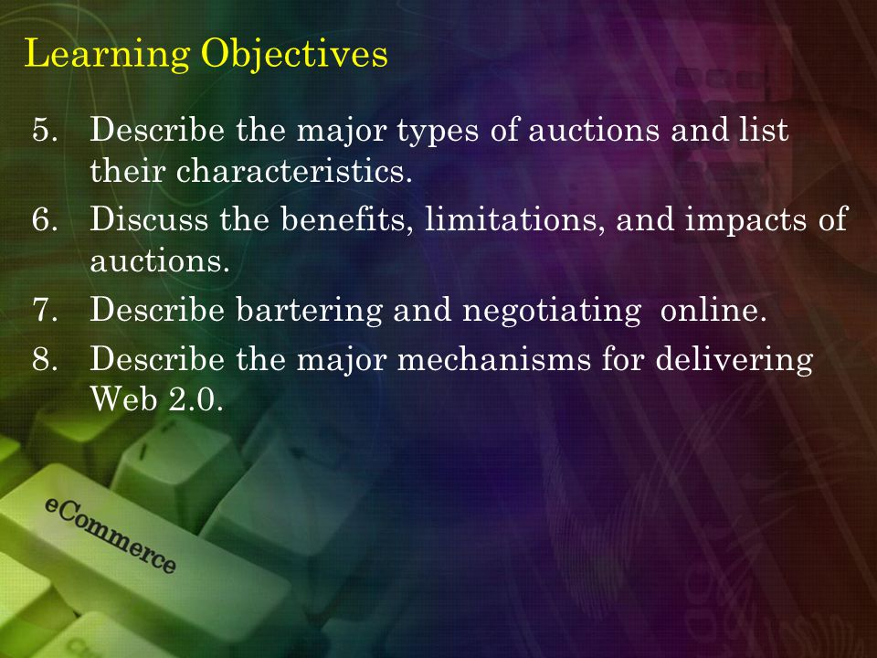 Learning Objectives 5.Describe the major types of auctions and list their characteristics.