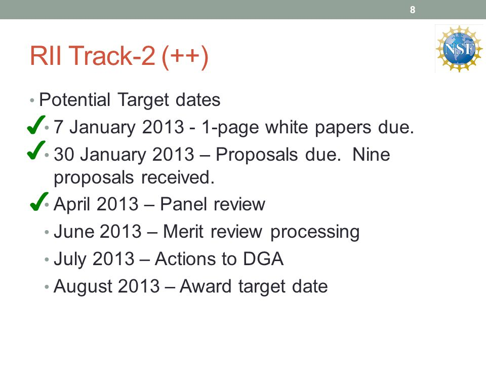 RII Track-2 (++) Potential Target dates 7 January page white papers due.