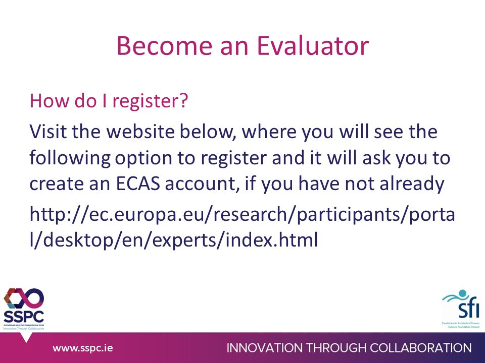 Become an Evaluator How do I register.