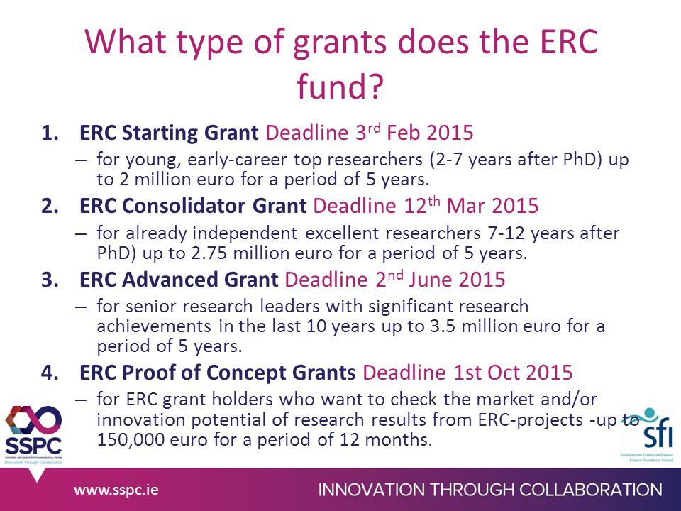 What type of grants does the ERC fund.