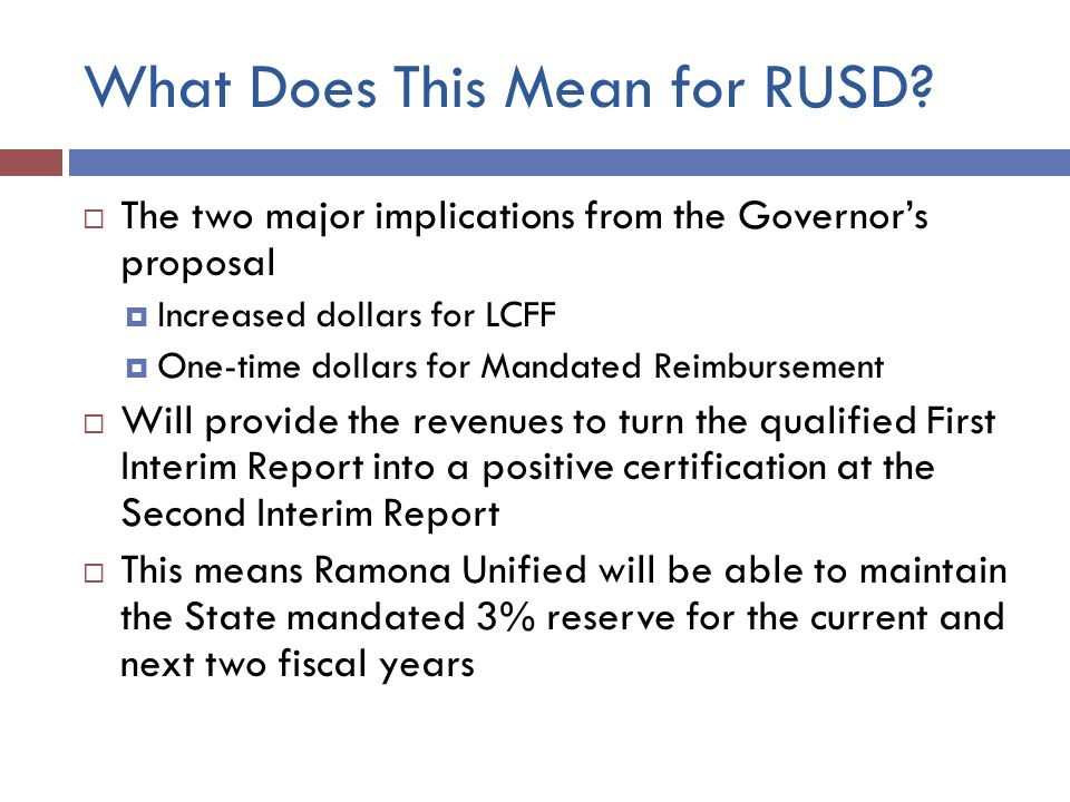 What Does This Mean for RUSD.