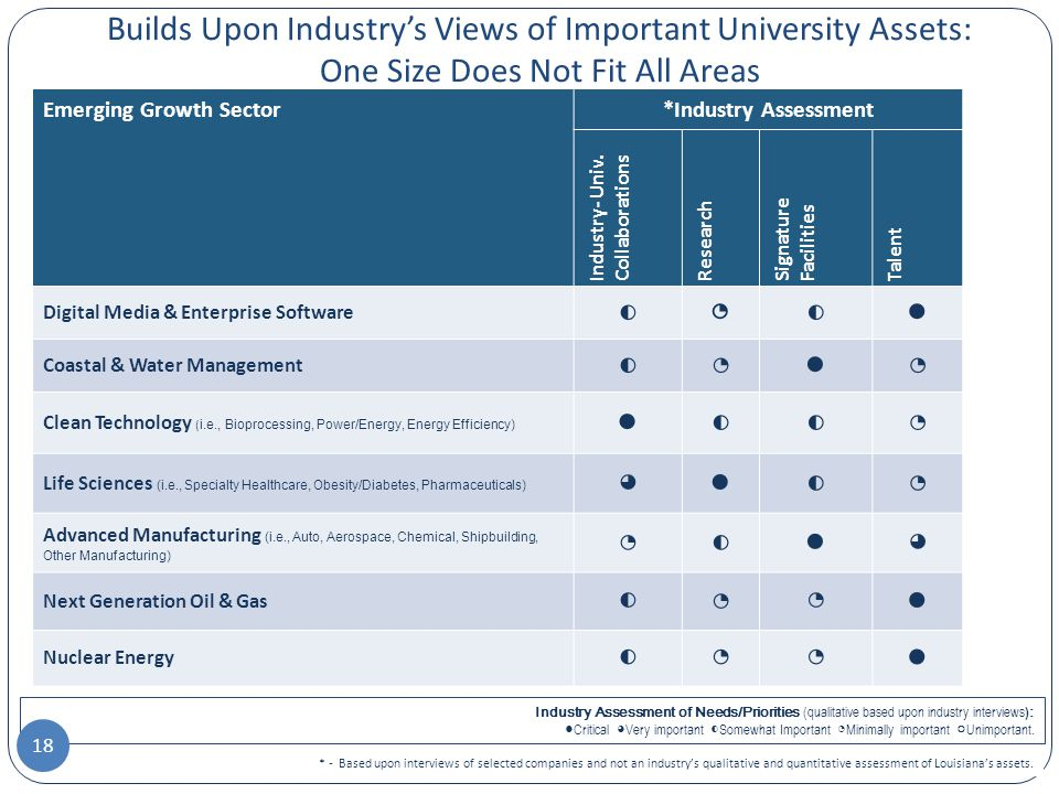 Builds Upon Industry's Views of Important University Assets: One Size Does Not Fit All Areas * - Based upon interviews of selected companies and not an industry's qualitative and quantitative assessment of Louisiana's assets.