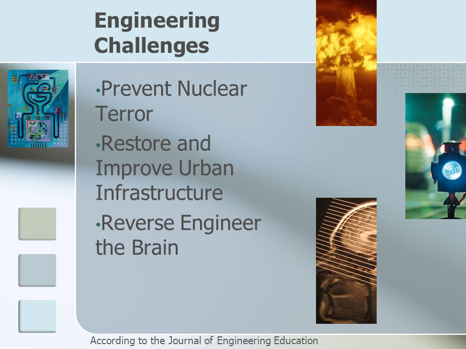 Engineering Challenges Prevent Nuclear Terror Restore and Improve Urban Infrastructure Reverse Engineer the Brain According to the Journal of Engineering Education
