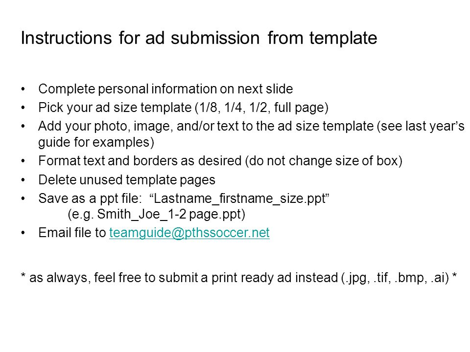 Instructions for ad submission from template Complete personal ...