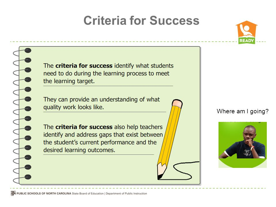Criteria for Success Where am I going