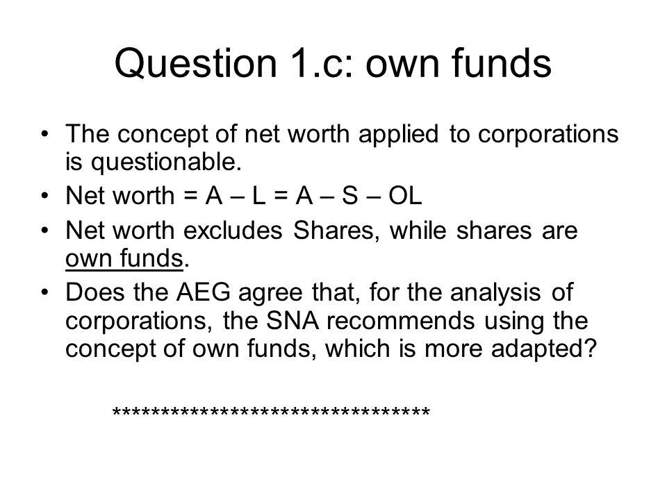 Question 1.c: own funds The concept of net worth applied to corporations is questionable.