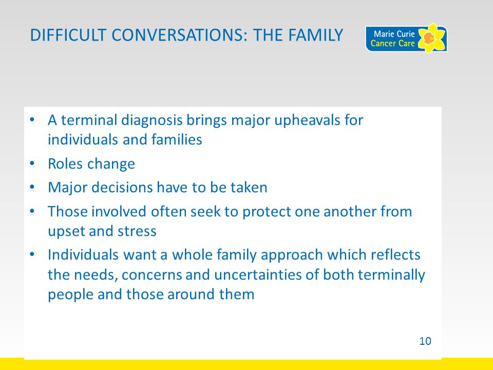DIFFICULT CONVERSATIONS: THE FAMILY A terminal diagnosis brings major upheavals for individuals and families Roles change Major decisions have to be taken Those involved often seek to protect one another from upset and stress Individuals want a whole family approach which reflects the needs, concerns and uncertainties of both terminally people and those around them 10