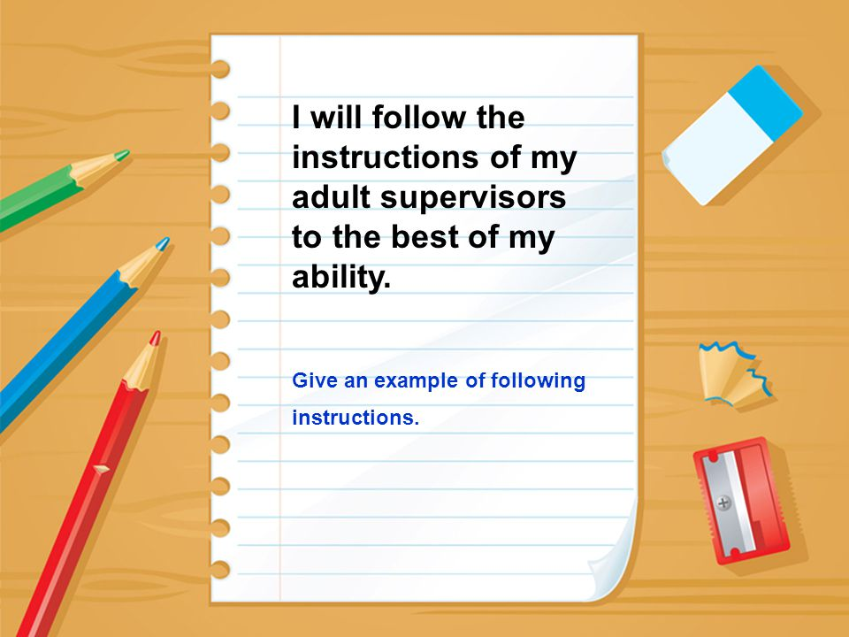 I will follow the instructions of my adult supervisors to the best of my ability.