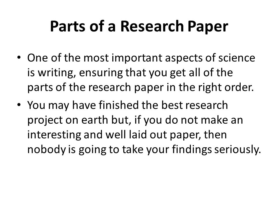 Parts of a research paper in order