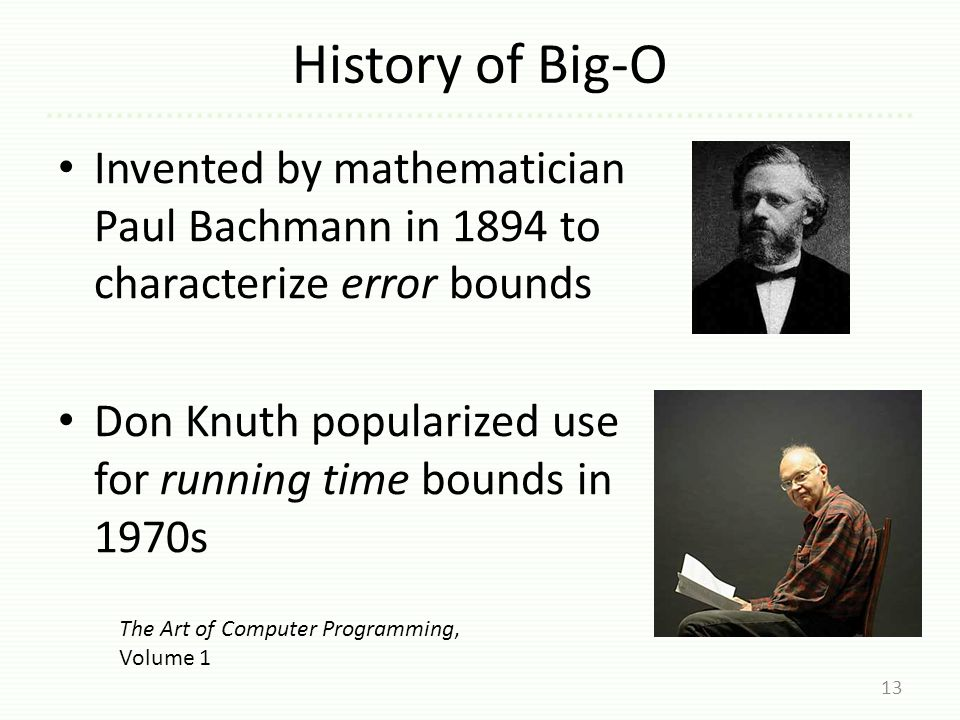 History of Big-O Invented by mathematician Paul Bachmann in 1894 to characterize error bounds Don Knuth popularized use for running time bounds in 1970s 13 The Art of Computer Programming, Volume 1