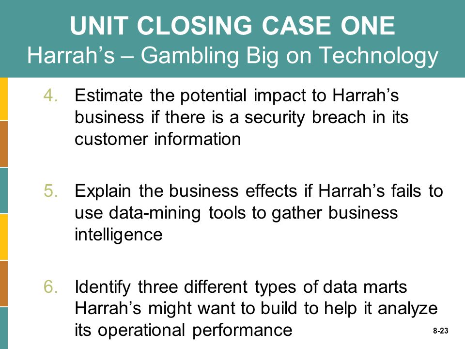 8-23 UNIT CLOSING CASE ONE Harrah's – Gambling Big on Technology 4.Estimate the potential impact to Harrah's business if there is a security breach in