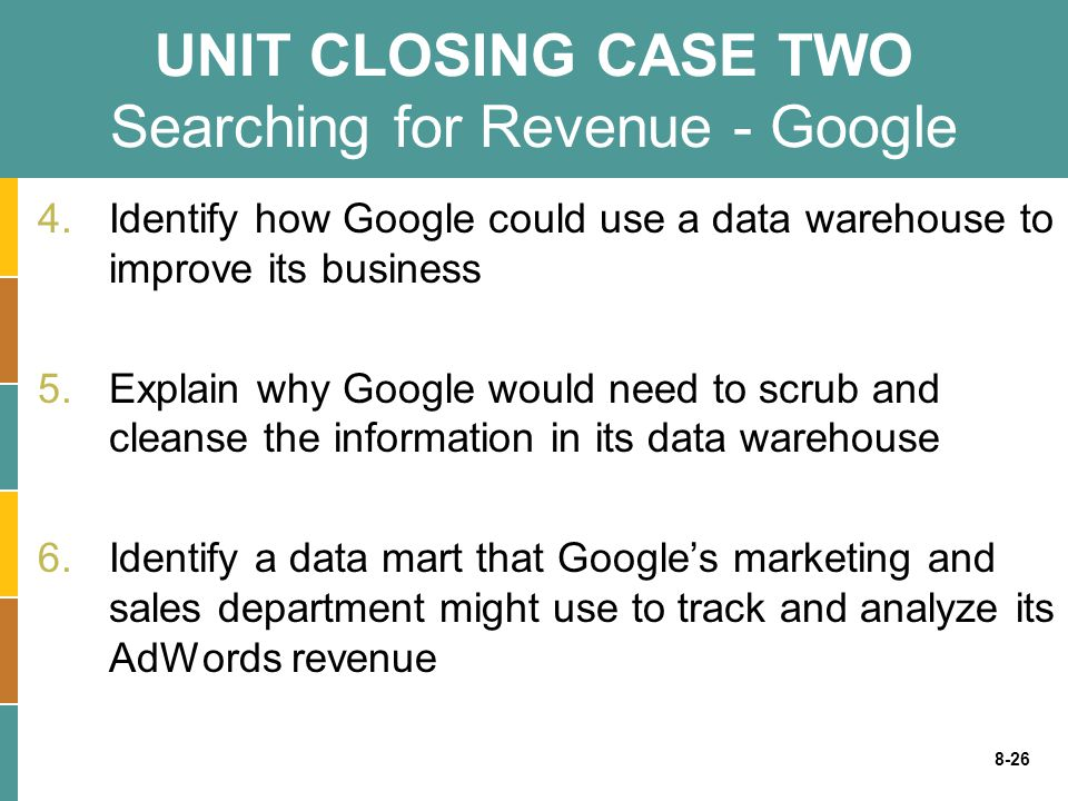 8-26 UNIT CLOSING CASE TWO Searching for Revenue - Google 4.Identify how Google could use a data warehouse to improve its business 5.Explain why Googl