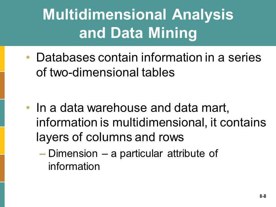 8-8 Multidimensional Analysis and Data Mining Databases contain information in a series of two-dimensional tables In a data warehouse and data mart, i