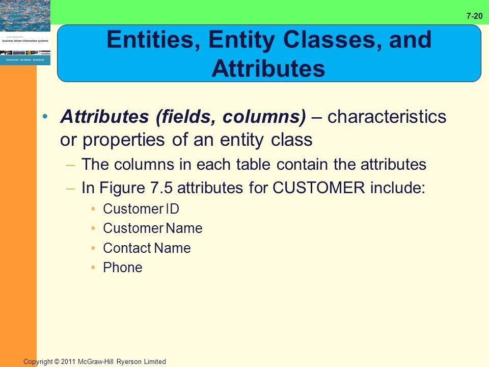 7-20 Copyright © 2011 McGraw-Hill Ryerson Limited Entities, Entity Classes, and Attributes Attributes (fields, columns) – characteristics or propertie