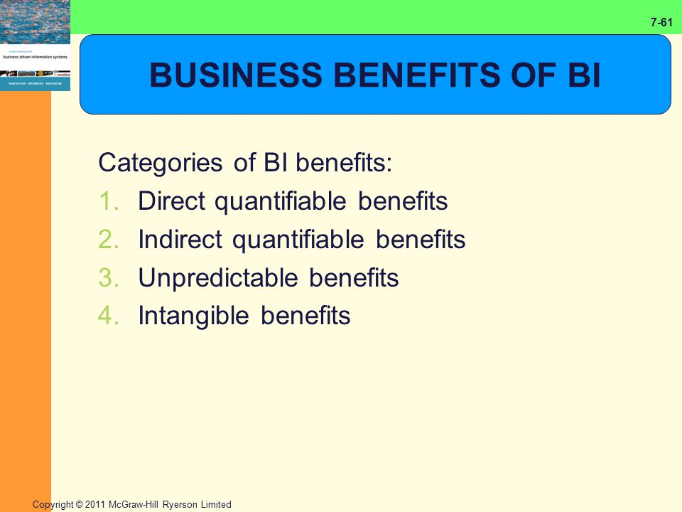 7-61 Copyright © 2011 McGraw-Hill Ryerson Limited BUSINESS BENEFITS OF BI Categories of BI benefits: 1.Direct quantifiable benefits 2.Indirect quantif