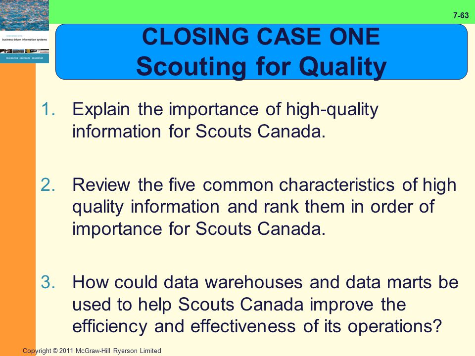 7-63 Copyright © 2011 McGraw-Hill Ryerson Limited CLOSING CASE ONE Scouting for Quality 1.Explain the importance of high-quality information for Scout
