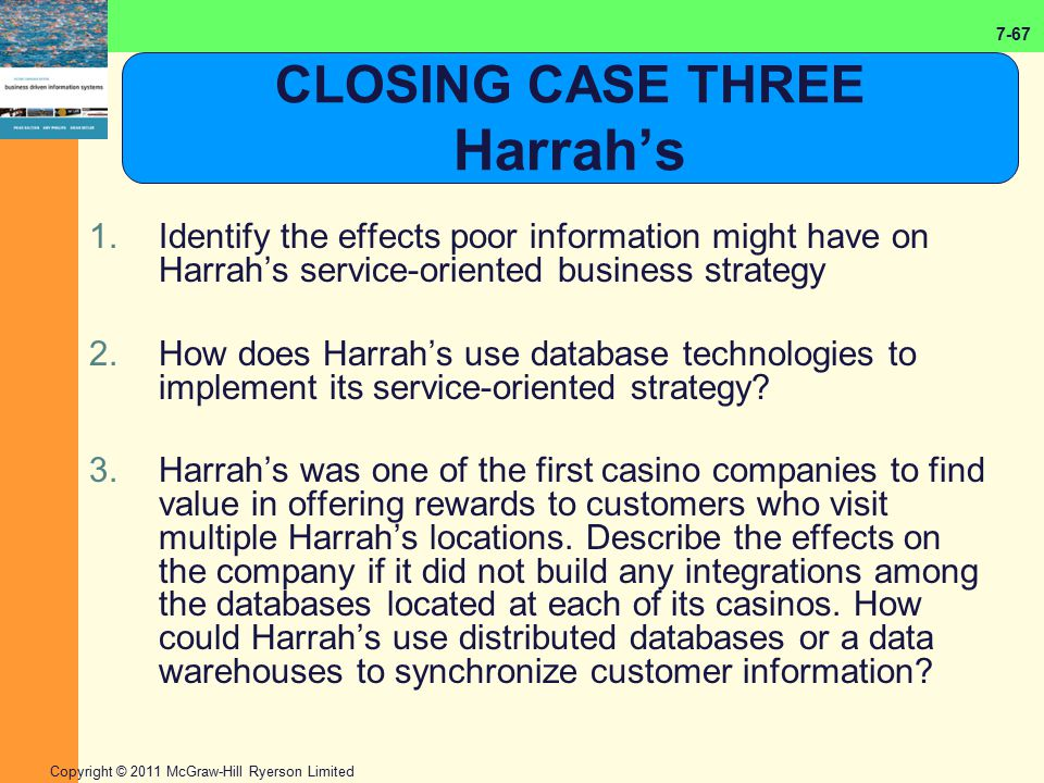 7-67 Copyright © 2011 McGraw-Hill Ryerson Limited CLOSING CASE THREE Harrah's 1.Identify the effects poor information might have on Harrah's service-o