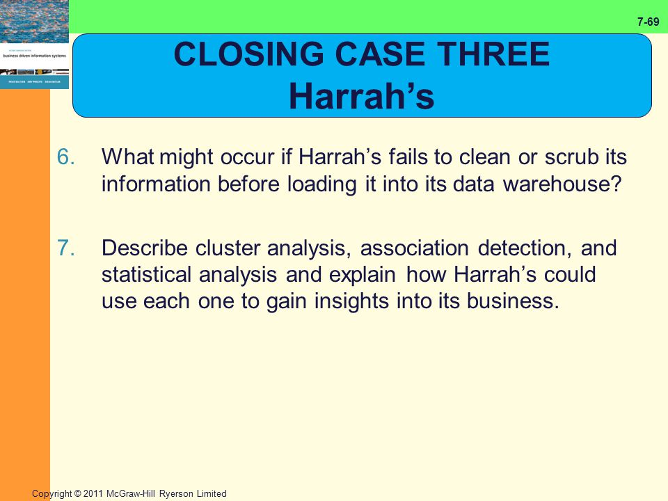 7-69 Copyright © 2011 McGraw-Hill Ryerson Limited 6.What might occur if Harrah's fails to clean or scrub its information before loading it into its da