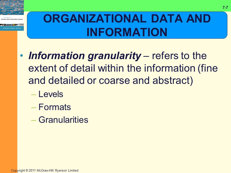 7-7 Copyright © 2011 McGraw-Hill Ryerson Limited ORGANIZATIONAL DATA AND INFORMATION Information granularity – refers to the extent of detail within t