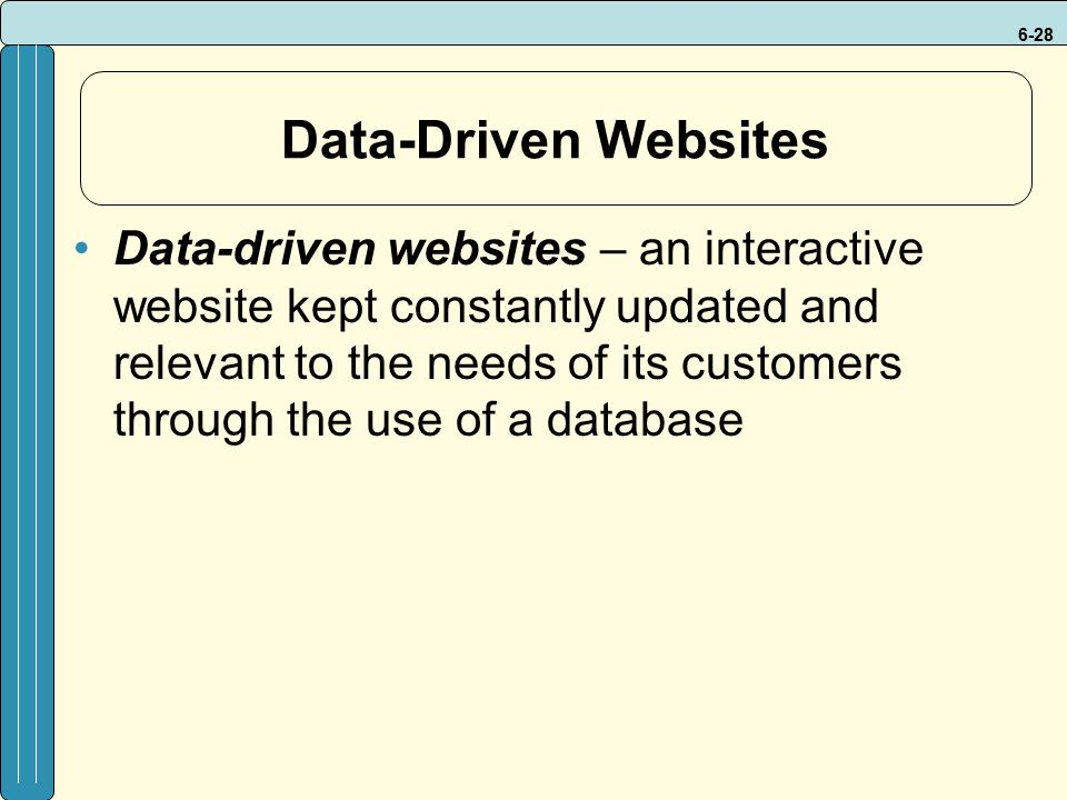 6-28 Data-Driven Websites Data-driven websites – an interactive website kept constantly updated and relevant to the needs of its customers through the