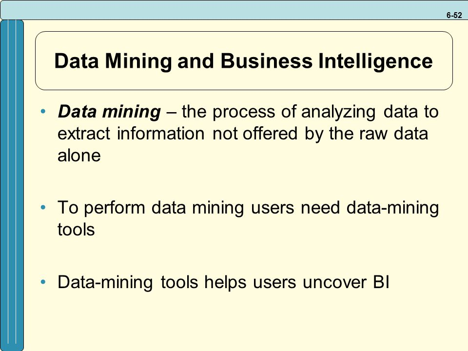 6-52 Data Mining and Business Intelligence Data mining – the process of analyzing data to extract information not offered by the raw data alone To per
