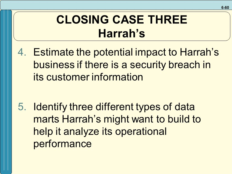 6-60 4.Estimate the potential impact to Harrah's business if there is a security breach in its customer information 5.Identify three different types o