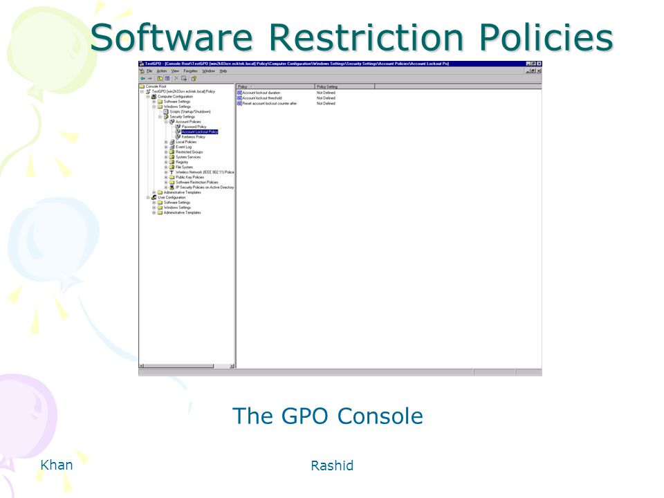 Khan Rashid Software Restriction Policies The GPO Console