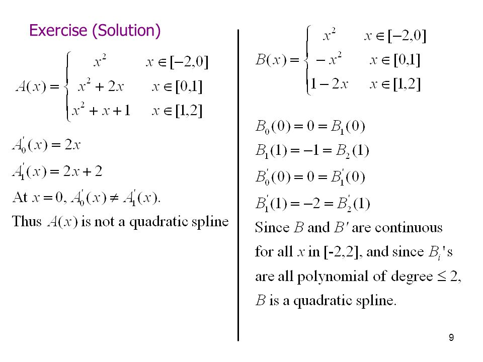 9 Exercise (Solution)