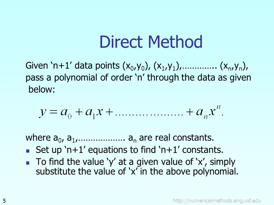 Direct Method Given 'n+1' data points (x 0,y 0 ), (x 1,y 1 ),…………..