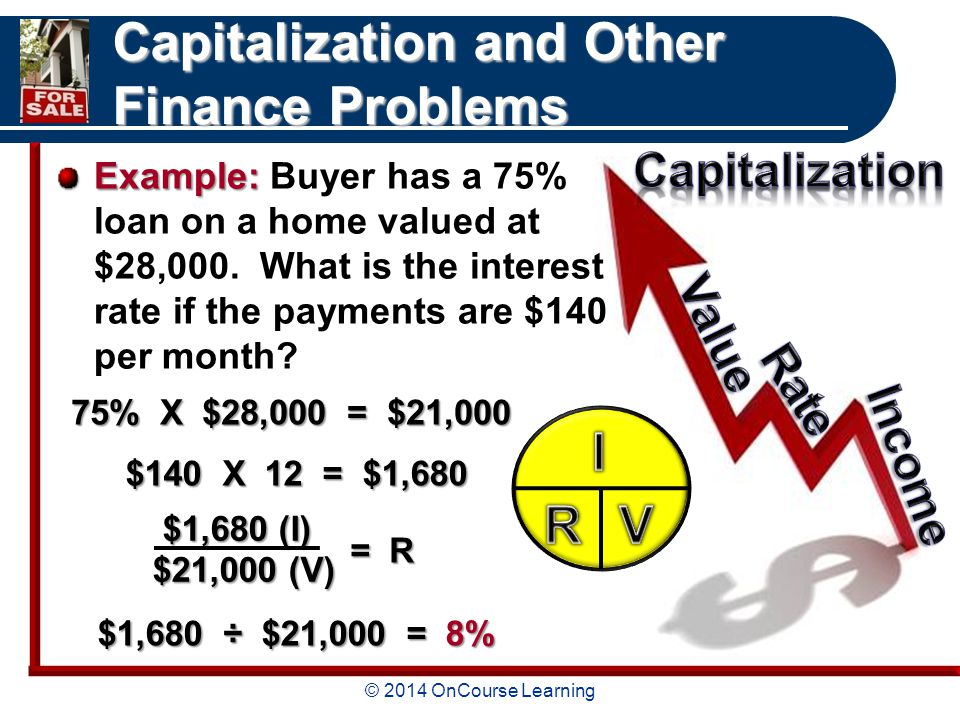 © 2014 OnCourse Learning Capitalization and Other Finance Problems Example: Example: Buyer has a 75% loan on a home valued at $28,000.