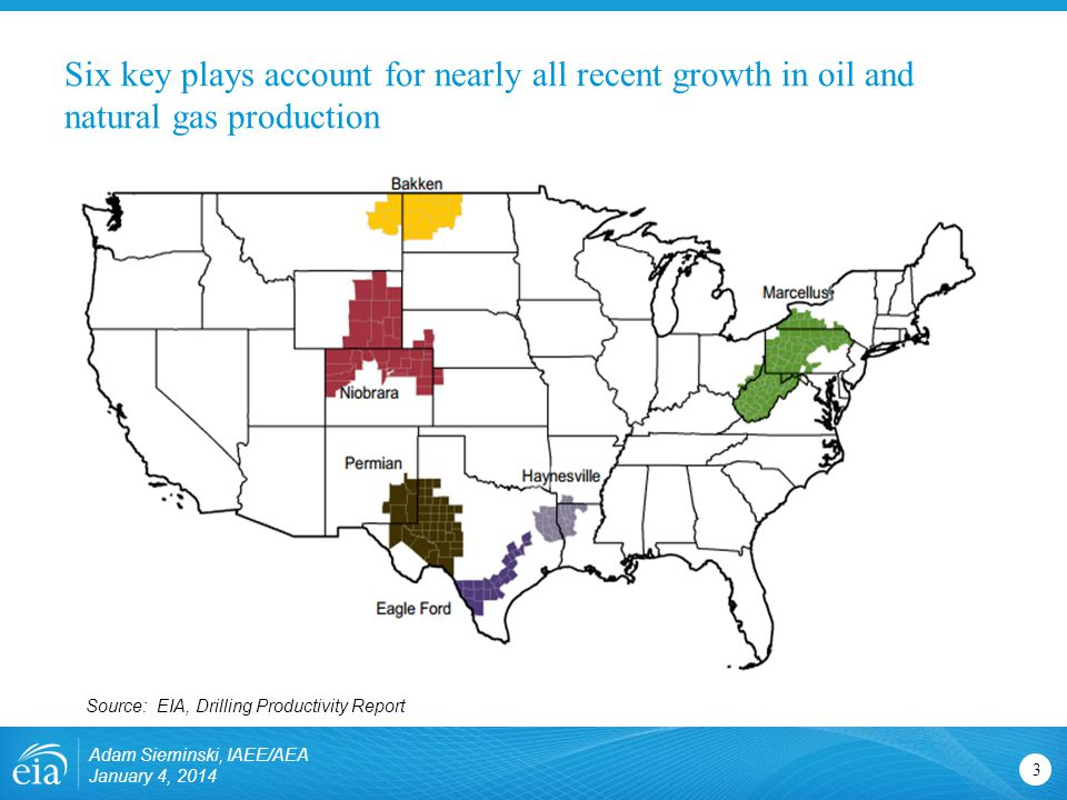 Six key plays account for nearly all recent growth in oil and natural gas production Adam Sieminski, IAEE/AEA January 4, Source: EIA, Drilling Productivity Report