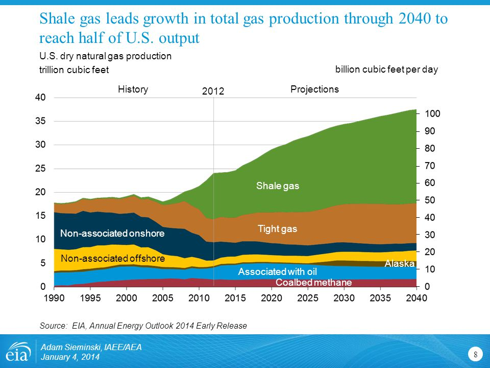Shale gas leads growth in total gas production through 2040 to reach half of U.S.