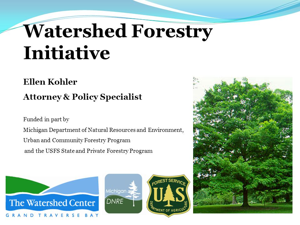 Watershed Forestry Initiative Ellen Kohler Attorney & Policy Specialist Funded in part by Michigan Department of Natural Resources and Environment, Urban and Community Forestry Program and the USFS State and Private Forestry Program