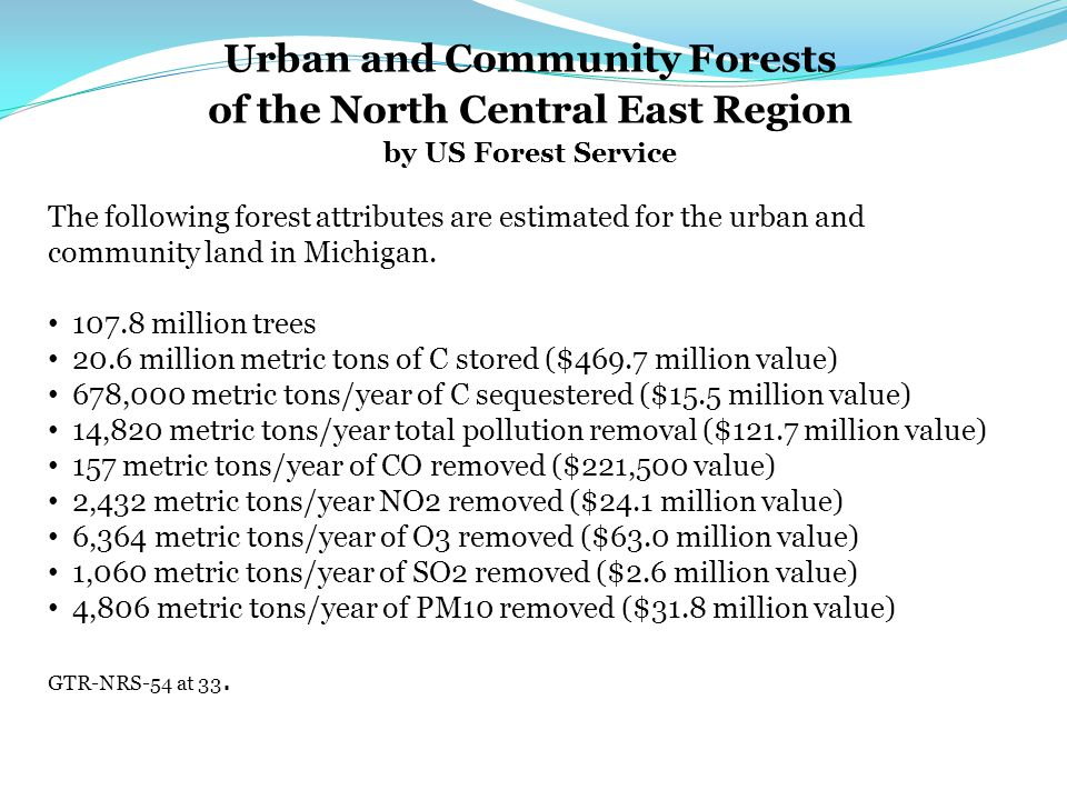 Urban and Community Forests of the North Central East Region by US Forest Service The following forest attributes are estimated for the urban and community land in Michigan.