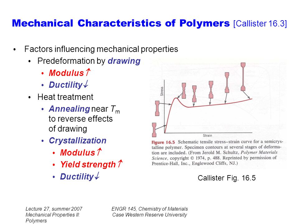 Lecture 27, summer 2007 Mechanical Properties II: Polymers ENGR 145, Chemistry of Materials Case Western Reserve University Factors influencing mechanical properties Predeformation by drawing Modulus  Ductility  Heat treatment Annealing near T m to reverse effects of drawing Crystallization Modulus  Yield strength  Ductility  Mechanical Characteristics of Polymers [Callister 16.3] Callister Fig.