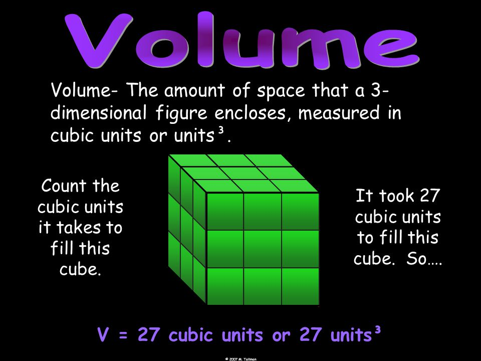 Volume- The amount of space that a 3- dimensional figure encloses, measured in cubic units or units³.