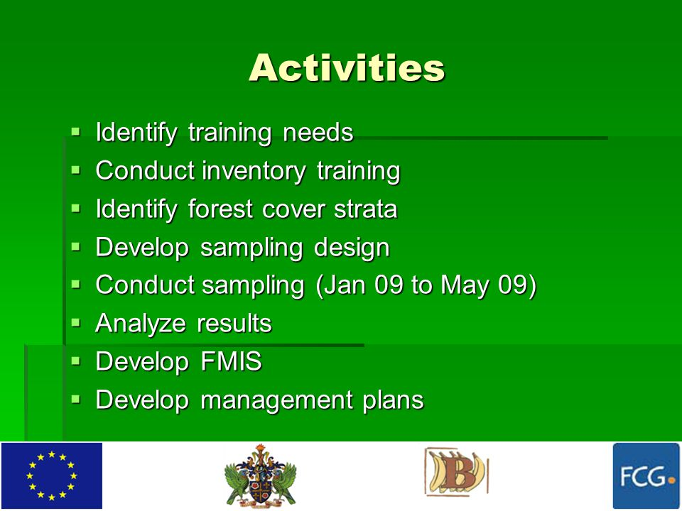 Activities  Identify training needs  Conduct inventory training  Identify forest cover strata  Develop sampling design  Conduct sampling (Jan 09 to May 09)  Analyze results  Develop FMIS  Develop management plans