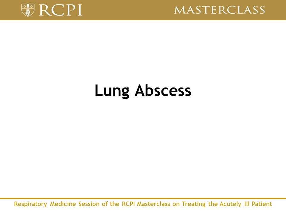 Respiratory Medicine Session of the RCPI Masterclass on Treating the Acutely Ill Patient Lung Abscess