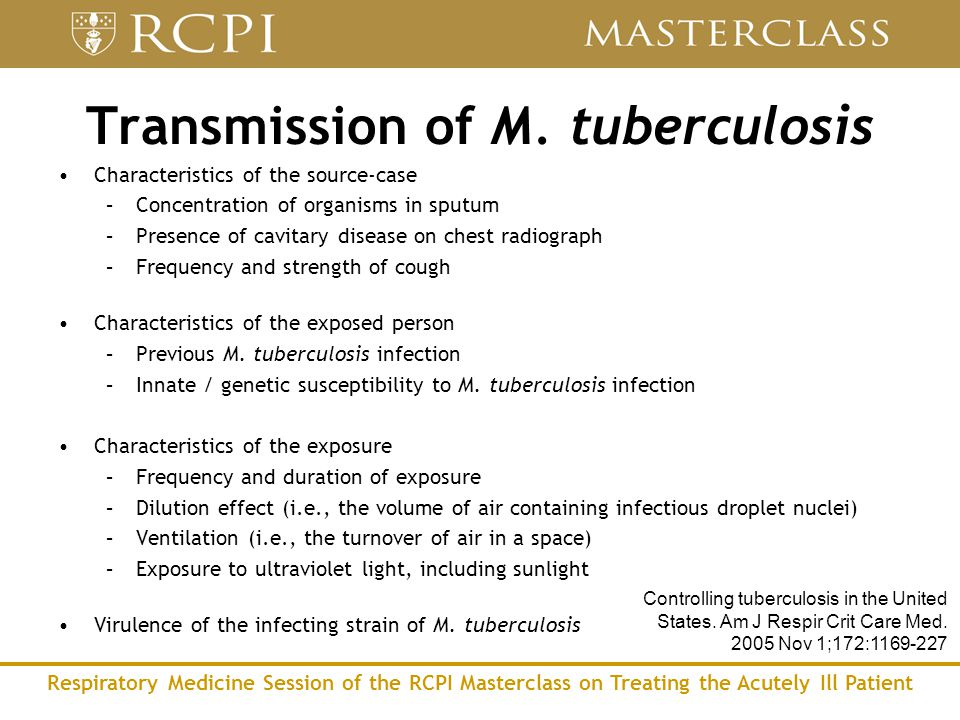 Respiratory Medicine Session of the RCPI Masterclass on Treating the Acutely Ill Patient Characteristics of the source-case –Concentration of organisms in sputum –Presence of cavitary disease on chest radiograph –Frequency and strength of cough Characteristics of the exposed person –Previous M.