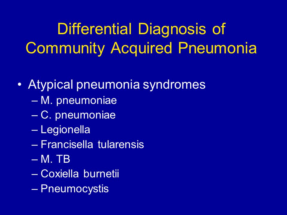 Differential Diagnosis of Community Acquired Pneumonia Atypical pneumonia syndromes –M.