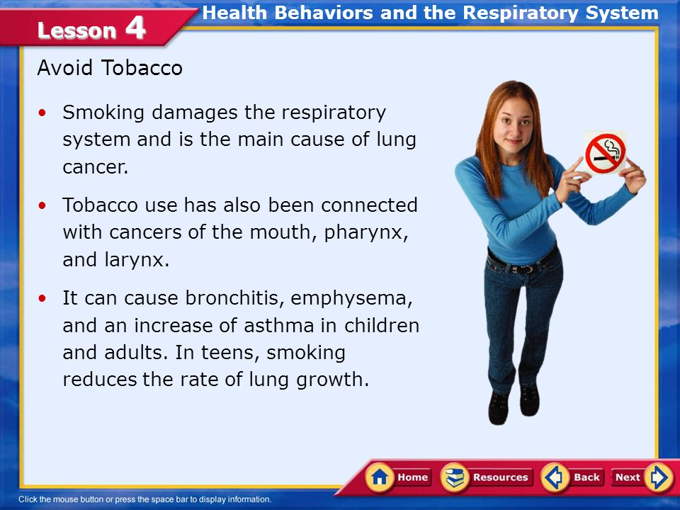 Lesson 4 Lesson Objectives Examine the effects of health behaviors on the respiratory system Identify warning signs that prompt individuals to seek care for respiratory problems In this lesson, you will learn to: