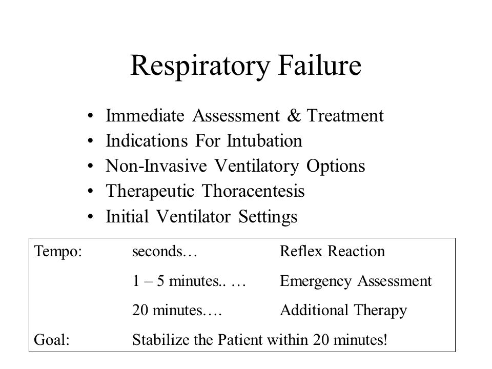 Respiratory Failure Immediate Assessment & Treatment Indications For Intubation Non-Invasive Ventilatory Options Therapeutic Thoracentesis Initial Ventilator Settings Tempo:seconds…Reflex Reaction 1 – 5 minutes..…Emergency Assessment 20 minutes….Additional Therapy Goal:Stabilize the Patient within 20 minutes!