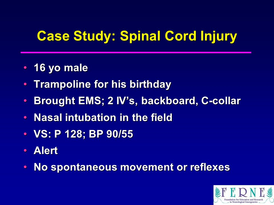 a case of spinal cord injury Clinical description an acute traumatic lesion of the neural elements in the spinal canal, resulting in temporary or permanent sensory deficit, motor deficit, or.